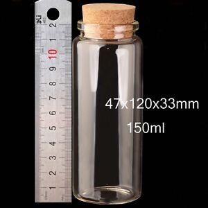 d5d596057d70 Details about 20pcs Empty Transparent 150ml Glass With Cork Lid Bottles  Multi Purpose Vials