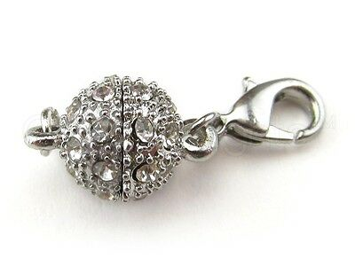 20 Magnetic Clasp Converters - Rhinestone Ball - Silver Color - Jewelry Necklace