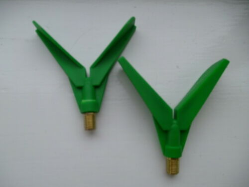 2 x  LARGE FLIGHTED  /'/'V/'/' ROD REST HEADS WITH BRASS THREAD * TO CLEAR RR11