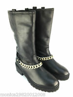 TOPSHOP BLACK LEATHER CHAIN ANKLE BOOTS SIZE 37 39 40