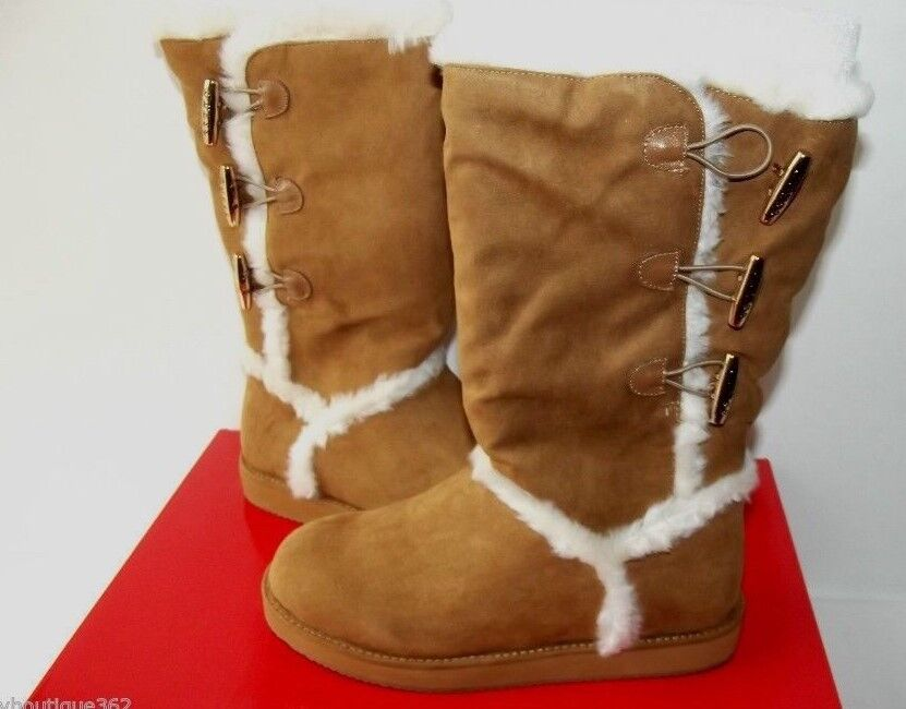 GUESS GF HELENA FAUX SUEDE LEATHER SHERPA LINED BOOTS MID CALF 6.5 NEW IN BOX