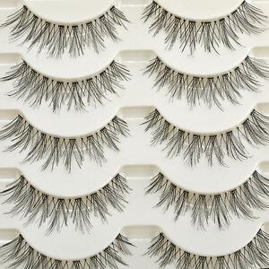 False-Fake-Human-Hair-Eyelashes-Eye-Lashes-Women-Natural-Makeup-Beauty-5-Pair