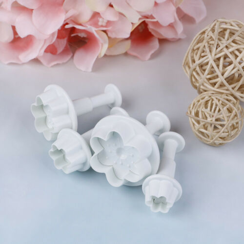 4 Pcs//set Peach blossom shape plastic cookie cutters flower series biscuit mo v!