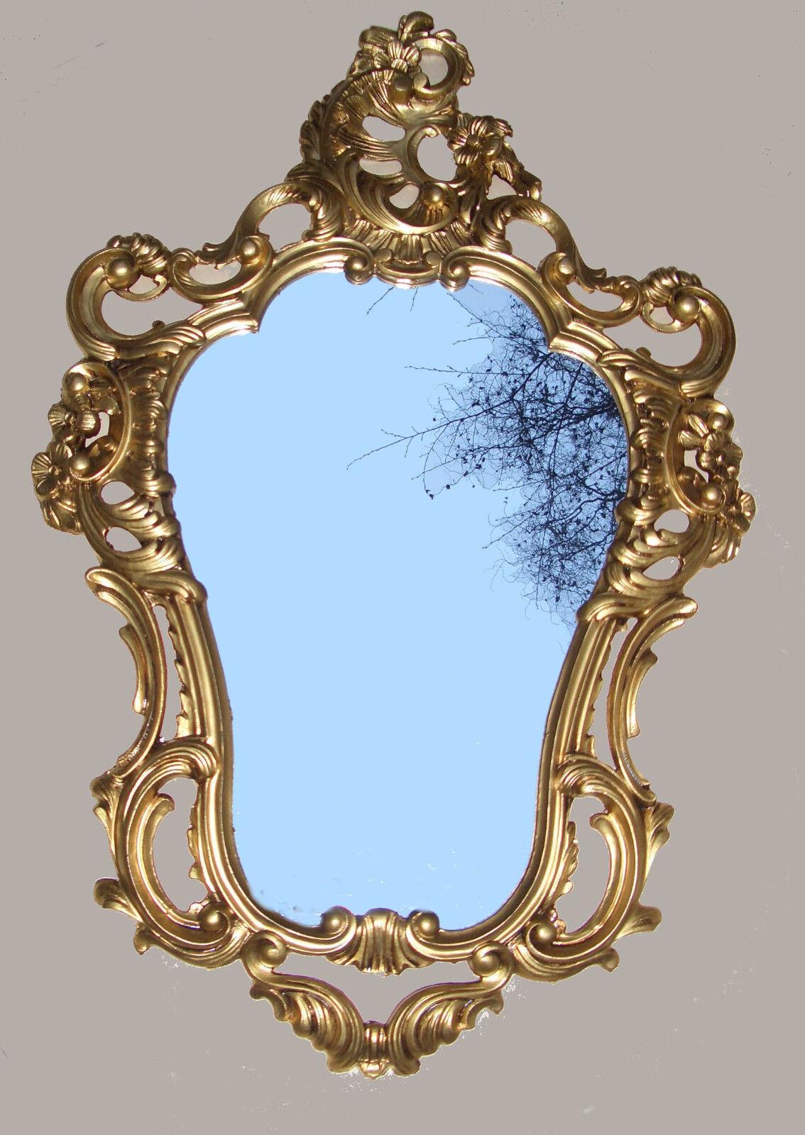 Exclusivo Espejo De Parojo Espejo Ovalado Espejo Barroco en oro 50X76 Parojo Deco Antiguo