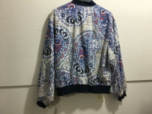 Gratis Størrelse Front Nwt Large Ladies People Bomber Jacket Patterned Zipper rUZArFn