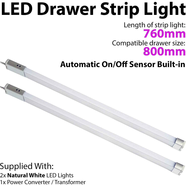 2x 800mm LED Schublade Lichtleiste – Auto auf   aus Pir Sensor – Küche Tür