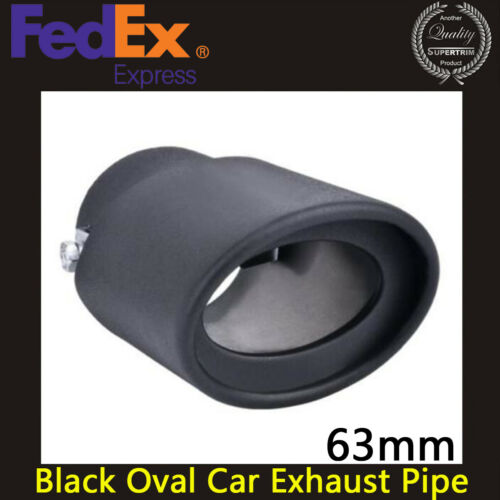 Black Oval Stainless Steel Car Exhaust Pipe Trim 63mm Muffler Tip Cover
