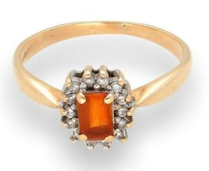 9Carat-Yellow-Gold-Fire-Opal-amp-Diamond-Solitaire-Cluster-Ring-Size-T