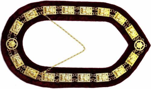 MASONIC Collar SHRINER SPHINX DRESS GOLDEN METAL CHAIN COLLAR MAROON VELVET
