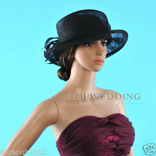 NEW Ladies Black Church Kentucky Derby Hat Sinamay Wide Brim Wedding Dress Hats