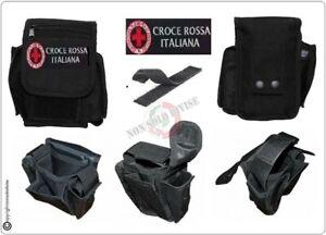 Borsetto-Tasca-Multiuso-Cinturone-Cordura-MHF-Nero-Blak-Croce-Rossa-Italia-CRI