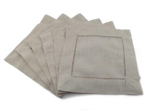 "55//45 Linen Cotton Blend 6/"" Coasters 12 Stone Hemstitch Cocktail Napkins"