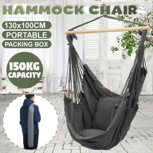 Hammock Outdoor Deluxe Hanging Rope Chair Swing Yard Garden Camping Patio Cotton