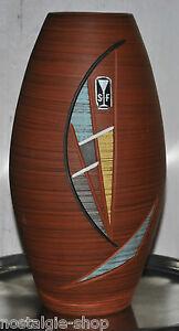 50er-60er-Vase-S-F-Keramik-50s-60s-Dekoration-Bodenvase-Handarbeit-mid-Century