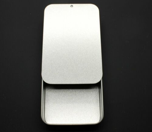Sliding Lid Silver Metal Tin Case Trinket Pill Box Tablet Survival Camping 40ml