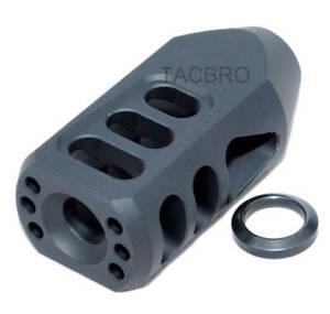US Seller 9 mm Tanker Style Competition Muzzle Brake Black Steel 1//2x36 TPI