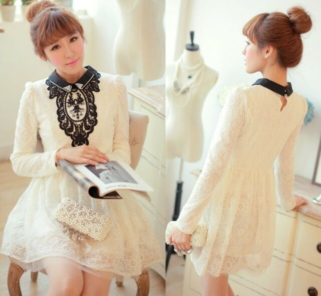 Pretty Kawaii Princess Cute Sweet Dolly Lolita Slim Long Sleeve Lace Dress wht