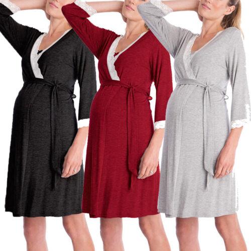 US Women Maternity Nursing Nightgown Cotton Long Night-Robe Sleepwear Robe S-XL