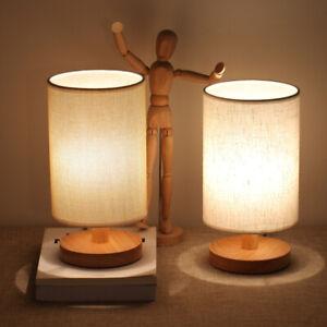 Tischlampe Retro Nachttischlampe für Schlafzimmer Stoff ...