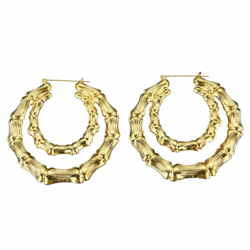 Fashion Large Retro Square Geometric Earrings Gold Silver Black Dangle Trendy UK