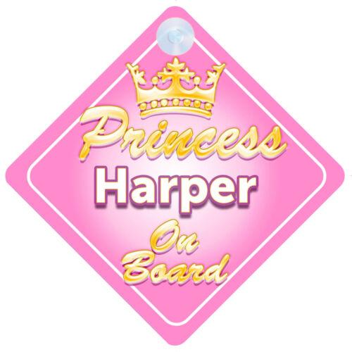 Crown Princess Harper On Board Personalised Baby Girl Car Sign