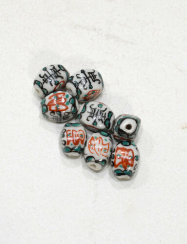 Beads Chinese Red Green Oval Porcelain 12-13mm