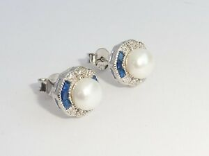 Damen-Art-Deco-Design-925-Sterling-Silber-Blau-Weiss-Saphir-amp-Perlen-Ohrringe
