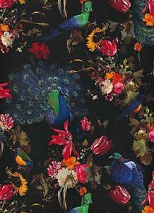 Erismann-Peacocks-Flowers-Floral-Wallpaper-Black-Red-Blue-Paste-The-Wall-Vinyl