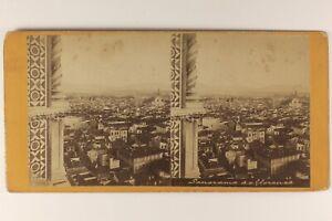 Italia-Panorama-Da-Florence-c1868-Foto-Stereo-Vintage-Albumina