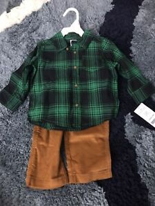 a1ec007eb8f Carters 9 Month Black And Green Flannel Shirt With Khaki Corduroy ...