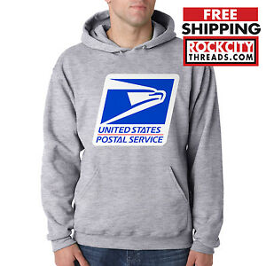 USPS-LOGO-POSTAL-SPORT-GREY-HOODIE-Hooded-Sweatshirt-United-States-Service-Chest