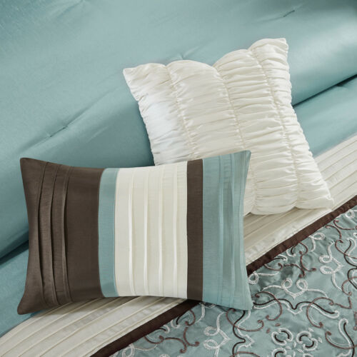 New Beautiful Seafoam Brown Embroidery Comforter Window Curtain 24 pcs Set KING