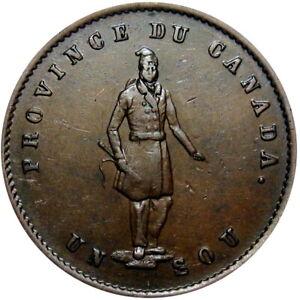 1852 Quebec Canada Half Penny Bank Token Breton 529