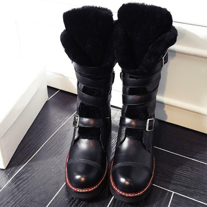 Retro Women's Hiking Mid Calf Boots Fur Lined Lined Lined Warm Winter Snow shoes Leather Hot 0f026e