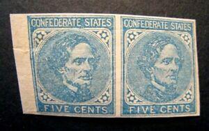 1862 US S# CSA 6, 5c Confederate States Jeff Davis lt blue Pair (2v) MNH OG vf