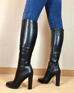 Gr-45-TOP-Exklusiv-Sexy-Damen-Schuhe-Knee-Knie-Stiletto-Stiefel-Maenner-Boots-D9
