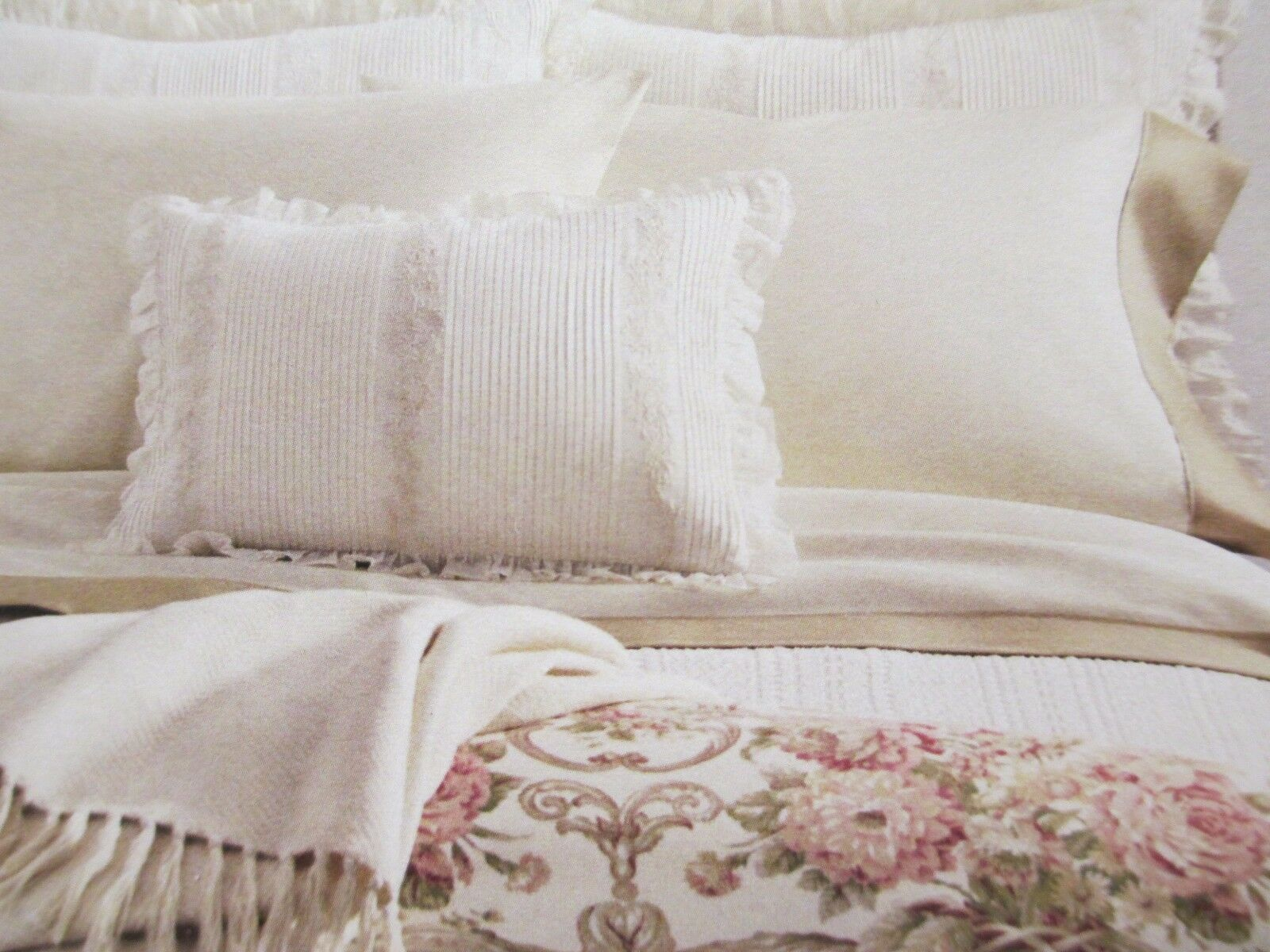 Ralph Lauren SABRINA Guinevere Victorian Feather Cream Embroiderosso Ruffle Pillow