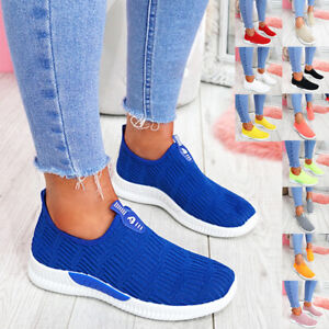 WOMENS LADIES SLIP ON KNIT TRAINERS PARTY CASUAL SPORT SNEAKERS WOMEN SHOES