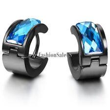 Stainless Steel Earrings Men's Women's Blue Rhombus Hoop Huggies Ear Studs  2pcs