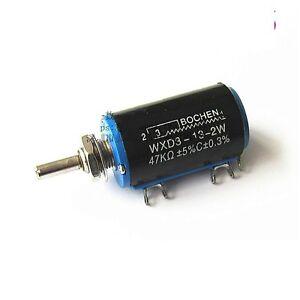 5pcs 47K ohm Rotary Multi-turn Wirewound Precision Potentiometer WXD3-13-2W