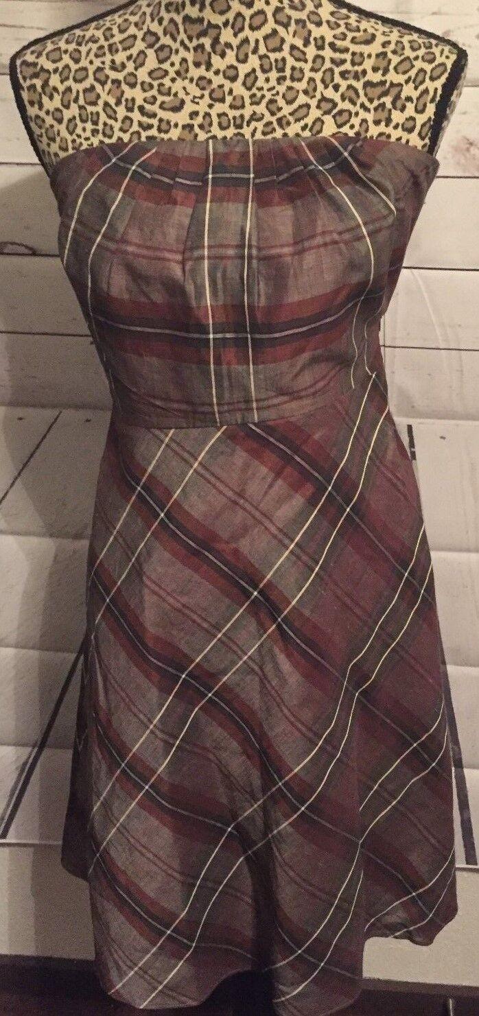 Banana Republic Strapless Brown Plaid Dress Size 2