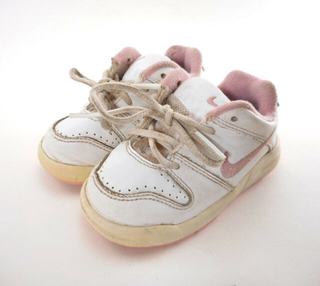 948708c82e Nike Baby Girl Sneaker Sz 5 5C White Pink Lace-up Toddler Shoes 332934-
