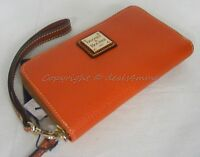 Dooney & Bourke Zr102 Tg Phone Wristlet/wallet In Tangerine Orange Leather