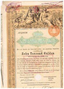 Österreich Staatschuld, Wien 1868, 10.000 Gulden, seltener Nennwert, dutch