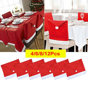 Christmas Santa Hat Dining Chair Back Covers Party Xmas Chair Table Decorations