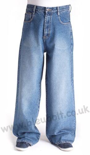 "Bleubolt 24/"" Hem Skater Baggy Trousers Loose Fit Jeans in 5 Colours Style 2285"