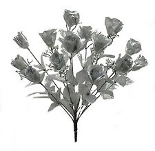 14 Long Stem Roses ~ SILVER ~ Silk Wedding Flowers Centerpieces 25 Anniversary