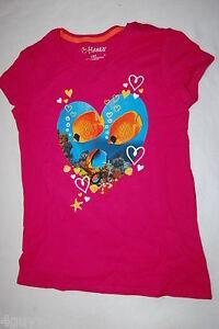 2eca09681928b Girls S S Tee Shirt DARK PINK Tropical Fish CORAL REEF HEART ...