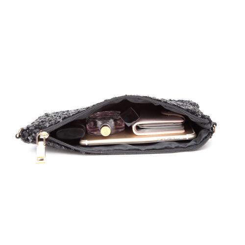 3pcs*Cross Body Chain Shoulder Bag Women Bling Sequins Evening Clutch Purse Bags