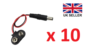 10 x PP3 9 V Batterie Clip//Snap to DC 2.1 mm x 5.5 mm Jack Plug